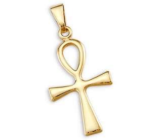 14k Yellow Gold Cross Crucifix Charm Pendant Ankh New