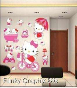 LARGE KIDS WALL STICKERS, HELLO KITTY CHILDREN WALL DECOR NURSERY