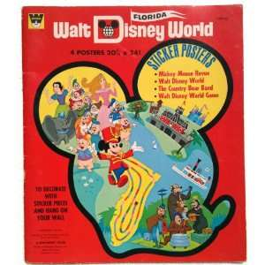 WALT DISNEY WORLD Book of 4 STICKER POSTERS (Dated 1971) Never Used