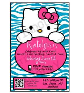 Hello Kitty Zebra Birthday Invitation   Personalized U Print