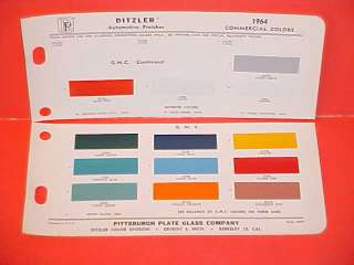 1964 GMC TRUCK EXTERIOR PAINT CHIPS COLOR CHART 64