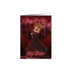 Sister Birthday card with Moonies cutie pie masquerade ball gown Card