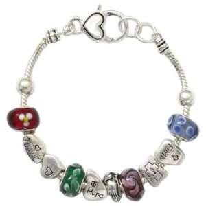 Pandora Style Faith Hope and Love Theme Charm Bracelet Fashion Jewelry
