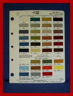 1971 BUICK Auto Paint Chip Colors Sheet   PPG Ditzler