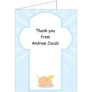 Holy Grace   Boy Baptism Christening Thank You Cards   Set