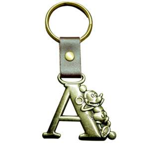 Disney Mickey Mouse Brass Initial Key Ring Letter A