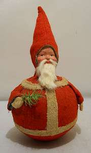 1920's Christmas Santa Claus Roly Poly Toy, Paper Mache Face, Felt