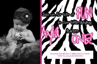 Custom Photo Pink Zebra Print Birthday Party Invitation Card