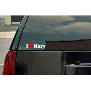 I Love Mary Vinyl Decal   White with a red heart