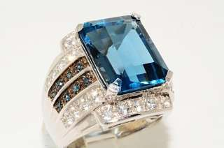 14CT EMERALD CUT BLUE TOPAZ,BLUE DIAMOND & WHITE TOPAZ RING SIZE 8.25