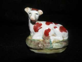 ANTIQUE STAFFORDSHIRE COW FIGURE FIGURINE RECLINING