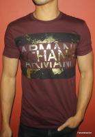 NEW AX ARMANI EXCHANGE MUSCLE SLIM FIT T SHIRT GRAPHICS BURGUNDY MENS
