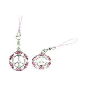 Pink Peace Sign Gemmed Border Cellphone Charm Strap