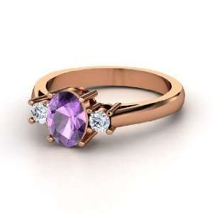 Ashley Ring, Oval Amethyst 14K Rose Gold Ring with Diamond