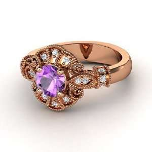 Chantilly Ring, Round Amethyst 14K Rose Gold Ring with
