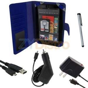 Blue Leather Folio Case Cover+Charger+Stylus Bundle For  Kindle