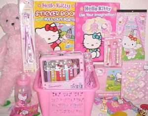 NEW HELLO KITTY TOY EASTER GIFT BASKET birthday TOYS LUNCH BOX BOOKS