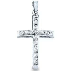 Gold Round Cut Pave Set Diamond Cross Pendant (.08 cttw) Jewelry