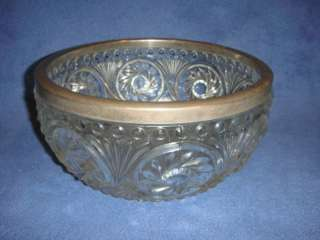 Vintage Pressed Glass Bowl w Silver Rim Made in England