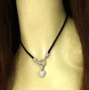 14K GOLD & DIAMONDS HEART PENDANT W/ LEATHER NECKLACE