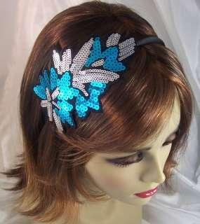 BLUE SILVER SEQUIN FLOWER Headband Hair Accessory