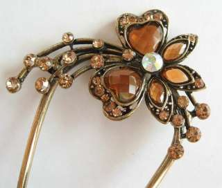 COLORS SWAROVSKI CRYSTAL DANGLE FLOWER HAIR STICK PIN PICK 566