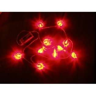 Lilys Home Battery Operated 10 RED LED String Lights Hearts Shaped on