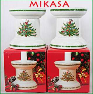 MIKASA CHRISTMAS TREATS Tree SANTA Pillar Candle Holders HP306 5