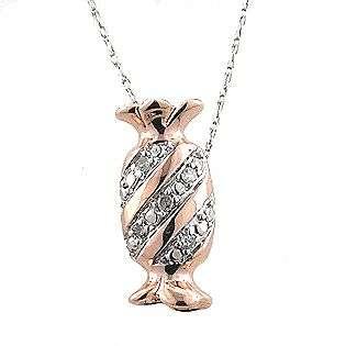 Diamond Accent Candy Pendant. 10k Rose Gold  Jewelry Diamonds Pendants
