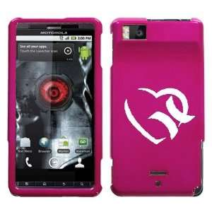 MOTOROLA DROID X WHITE HURLEY HEART ON A PINK HARD CASE