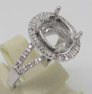 8x10mm Solid 14Kt White Gold Natural Diamond Semi Mount Ring