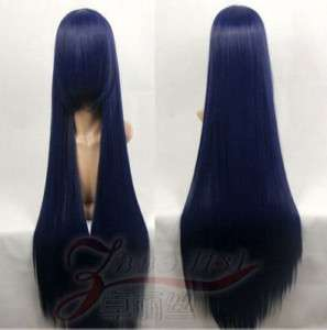Fashion straight Blue black cosplay heat resistant Party wig 100cm