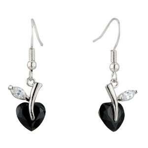 Black White Clear Heart Shaped Leaf Dangle Swarovski Crystal Earrings