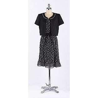 White Dot Dress Hard Jacket  Sandra Darren Clothing Womens Dresses