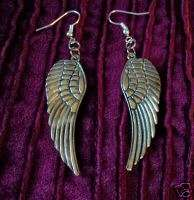 LARGE Antique silver ANGEL WING pierced earrings