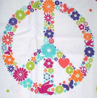 Love Peace Sign Cotton Fabric Shower Curtain 72x72 Floral White