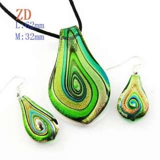 Murano Lampwork Glass Foil Leaf Pendant Necklace Earrings Set