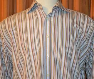 TAILORBYRD LONG SLEEVE BROWN PINK CASUAL STRIPE 100% 2 PLY COTTON
