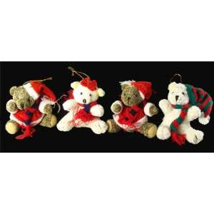 Club Pack of 144 Plush Mr. & Mrs. Santa Claus Bear Christmas Ornaments