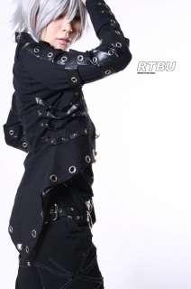 Noir Gothic Punk Robot Rib Cage Grommet PU Leather Strap Tail Coat