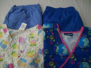 Medical Dental Scrubs Lot of 11 Printed Outfits Sets Size XL Extra