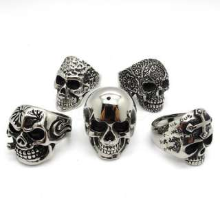 lots PUNK mixed skull Mens gothic ring stainless steel