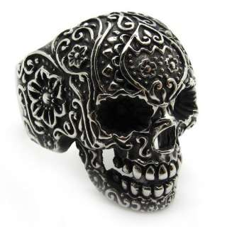Mens Black gothic poker skull stainless steel silver flower finger