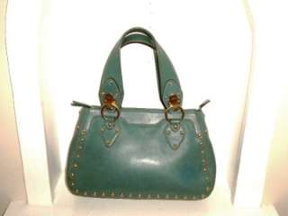 MICHAEL KORS BLUISH GREEN LEATHER GOLD STUDDED TOTE