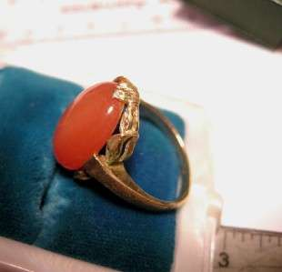 LUSCIOUS OLD CARVED 14K GOLD ANTIQUE 10CT ORANGE STAR MOONSTONE RING