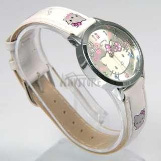 White Cute Lovely Colorful Alloy Hellokitty Quartz Kids Wrist Watch