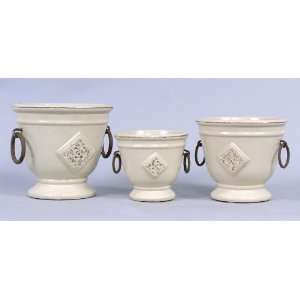 Planter Pots With Raised Floral Design in Cream Glazed Patio, Lawn
