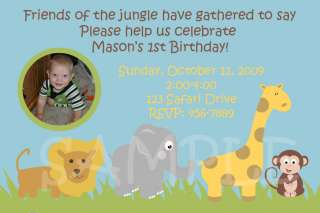 JUNGLE ANIMALS Safari Zoo PHOTO Birthday INVITATIONS