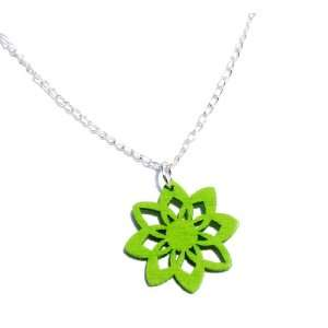 Lime Green Wood Flower Pendant Necklace in Silver, 19