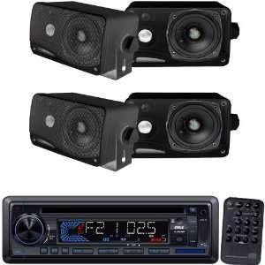 Pyle Marine Radio Receiver and Speaker Package   PLCD34MRW